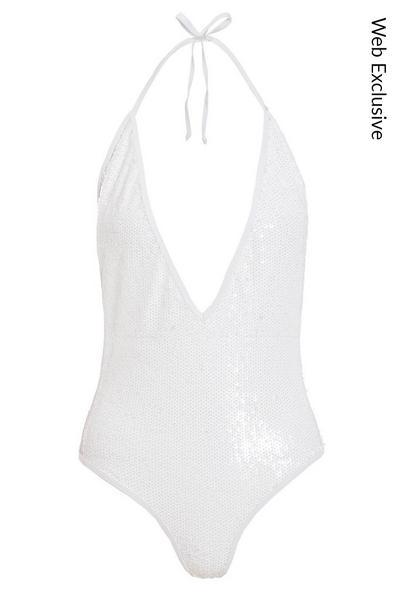 White Sequin Plunge Swimsuit